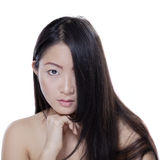 Girl with natural skin and hair in studio Royalty Free Stock Photos