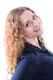 Girl with naturally curly - woman on white background Royalty Free Stock Photos