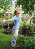 Girl on the nature. Girl does exercises outdoors on the nature Stock Image