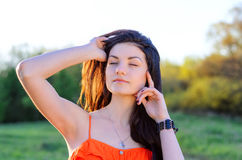 Girl on nature Stock Images