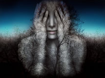 Girl and nature in the darkness. Surreal and artistic image of a girl who covers her eyes with her hands on a background of trees and sky Royalty Free Stock Photos