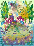 Girl Nature Fantasy clipart. Fantastic world with underwater and fishes. Butterfly and plants harmony