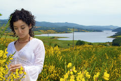 The girl, the nature and the thoughts Royalty Free Stock Images