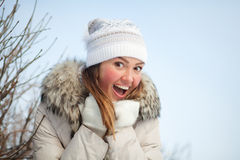 Girl in nature in winter Stock Photography