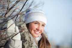 Girl in nature in winter Stock Images