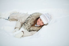 Girl in nature in winter Royalty Free Stock Photo