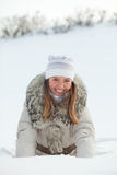 Girl in nature in winter Royalty Free Stock Image