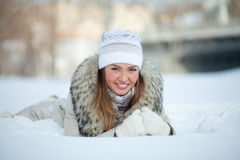 Girl in nature in winter Royalty Free Stock Images