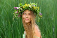 Girl nature wreath Stock Photo