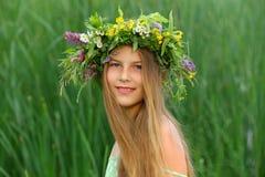 Girl nature wreath Stock Photo