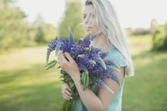 The girl on naturewith a bouquet of lupines. The girl is standing in the field with a bouquet of lupines Stock Photography