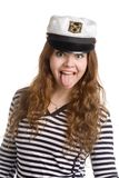 Girl in naval clothes Royalty Free Stock Photography