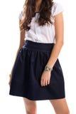 Girl in navy skirt. Royalty Free Stock Photos