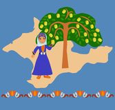 Girl near an apple tree against a silhouette of the Crimea. Girl in the Tatar national costumes near a local apple varieties in the background silhouette of the stock illustration