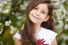 Girl near the apple tree flowers Royalty Free Stock Photography