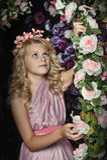 Girl near the arch of roses Stock Photos