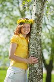 Girl near birch Stock Images
