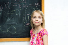 Girl near the blackboard Stock Photos