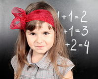 Girl Near Blackboard Proud Stock Photography