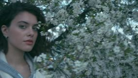 Girl near blooming tree, slow motion. Young gorgeous brunette woman near blooming tree. Slow motion stock video footage