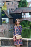 Girl near bridge in Nurnberg (Nuremberg) Royalty Free Stock Image