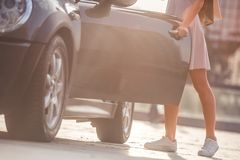 Girl near the car Stock Photography