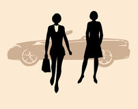 Girl near a car. Style woman illustration royalty free illustration