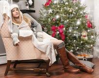 Girl  near Christmas tree Royalty Free Stock Photo
