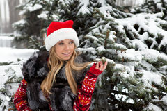 Girl near Christmas tree with snow Stock Photos