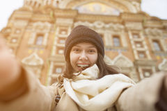 A girl near the church Savior on blood. Stock Images