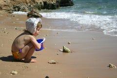 Girl near the coastline Stock Photo