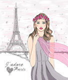 Girl near eiffel tower. Hand drawn Paris postcard. Stock Images