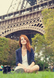 Girl near Eiffel tower. Stock Photography