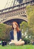 girl near Eiffel tower. Stock Photography