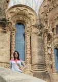 Girl near Expiatory Church of the Sacred Heart of Jesus Stock Photo