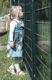 Girl near the fence royalty free stock photo