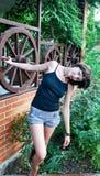 Girl near gazebo Stock Images