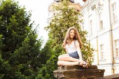 Girl near the hight school building Stock Image