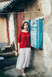 Girl near the mailbox. Beautiful vintage girl near the mailbox Stock Photos
