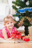 Girl  near a New Year tree Royalty Free Stock Image