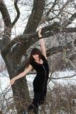 Girl near Oak. The girl near oak forest in winter Royalty Free Stock Photo