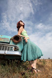 Girl near old car. At outdoor. Photo #3 Royalty Free Stock Photography