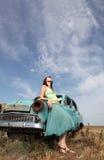 Girl near old car. Outdoor. Photo #4 Stock Photos