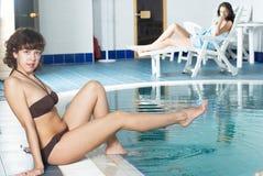 Girl near pool Stock Photo