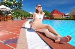 Girl Near Pool Stock Photos