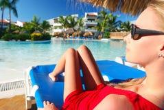 Girl near pool Royalty Free Stock Photo