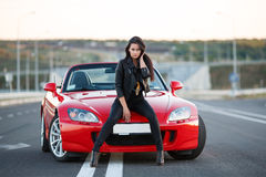 Girl Sitting Hood Car Stock Photos Images Amp Pictures