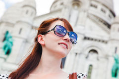 Girl near Sacre-Coeur Basilica. Paris, France Stock Images