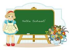 Girl near school blackboard Stock Photo