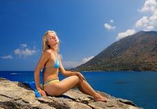 Girl near the sea stock image